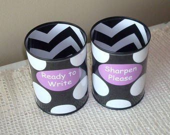 Black and White Polka Dot and Chevron Desk Accessories - Tin Can Pencil Holder with Labels - Classroom Organization - Teacher Gift - 1009