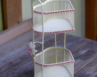 Upcycled Double Heart Metal Basket Stand