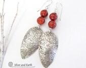 Red Jasper Sterling Silver Earrings, Handmade Sterling Earrings, Natural Stone, Earrings with Stones, Silver & Red Earrings, Jasper Jewelry