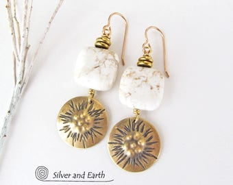 Gold Dangle Earrings, Brass Earrings, White Stone Earrings, Handmade Artisan Earrings, Gold Drop, Natural Stone, Modern Earthy Jewelry