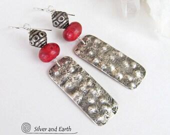 Sterling Silver Tribal Earrings, Red Coral Earrings, Handmade Silver Jewelry, Rustic Boho Earrings, Bohemian Jewelry, Silver & Red Earrings