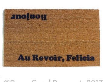 FRENCH Au revoir, Bonjour Hi Bye, Felicia novelty Welcome doormat