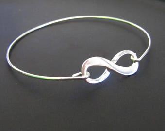 Infinity Bracelet, Infinity Bangle Bracelet, Sterling Silver Bracelet, Friendship Bracelet, Love Bracelet, Gift for Her