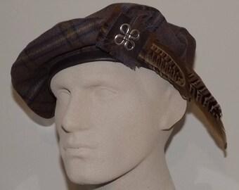 Men's Brown Beret, Scottish Tam, Men's Highland Headwear
