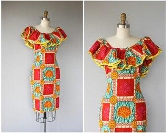 Vintage 1980s Dress | 80s Batik Print Dress | 1970s Dress | 70s Dress | 1970s Batik Dress | Ethnic Print Dress | Bohemian Dress   - (xs)