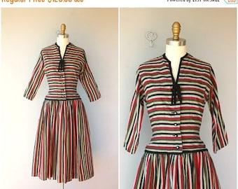 48 HR FLASH SALE 1950s Striped Party Dress   50s  Dress   1950s Dress   50s Striped Day Dress   Pat Hartley Dress - (small)