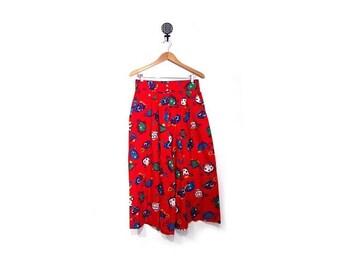 BTS SALE Vintage 90s Red Wide Leg Turtle Print Culottes women L Xl vestiesteam preppy indie hipster hip hop summer high waist Usa Bentley Ar