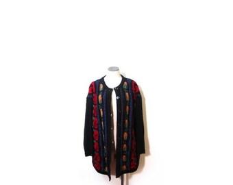 30% OFF Vintage 90s Oversized Knit Floral Rose Grunge Button Up Cardigan Sweater women s-xl vestiesteam flower plus size indie cosby biggie