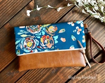 Fold Over Clutch - Teal Boho Floral with Vegan Leather - Detachable Wristlet