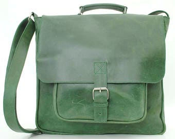 Leather messenger bag satchel bag classic mail carrier green laptop bag leather bag MacBook pro computer leather bag Leather laptop bag