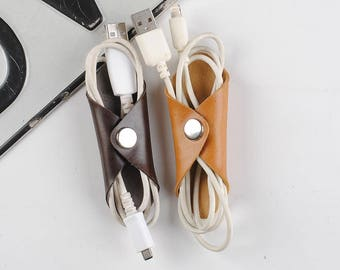 Leather Cord Organizer Cable Organizer  Electronics cable  Wire  Earphones Holder  Earphone organizer - iPhone cord holder organizer