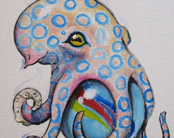 Blue Ringed Octopus - original daily painting by Kellie Marian Hill
