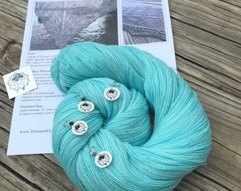 Ocean In the Moonlight Shawl KIT KAL Kiss From a Mermaid Silk Treasures Lace Yarn Pattern PDF Stitch Markers merino silk yarn turquoise teal