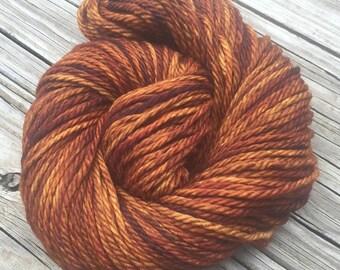 Hand Dyed Bulky Yarn Copper Cove yarn 100% superwash merino wool 106 yards orange rust gold brown bulky weight yarn treasure goddess