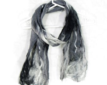 Cobweb Felted Scarf, Handmade Wool Winter Scarf, Black White Gray, Long Womens Mens Unisex Scarf, Winter Fashion Accessory, Gift for Her