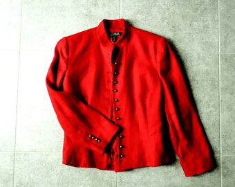 Vintage Ralph Lauren Red Linen Riding Jacket Style Blazer - With Brass Buttons - Size 8