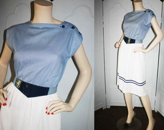 Vintage Navy and White Gingham Day Dress with Fashion Belt. Super Cute.