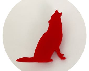 Animal Shape Pin, Howling Wolf Pin in Red Acrylic, Wolf Shape, Wolf Brooch, Animal Brooch