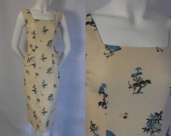 1950 Raw Silk Wiggle Summer Dress with Fan & Asian Design Gorgeous