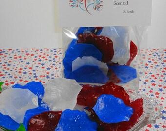 Fireworks Petal Soaps -Individual Rose Petal Soaps - Glycerin Soaps - Wedding Favor - Guest Soap - Red,White and Blue - SoapGarden