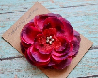 Mixed Berries Multi-Layered Flower Hair Clip