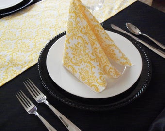 Yellow Napkins Floral Wedding Table Centerpiece Fabric Cloth Napkin Set Linen Wedding Decor