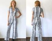 Snakeskin Jumpsuit / Snake Skin Zip Front Jumpsuit / 70s Jumpsuit Sz XS S M L XL
