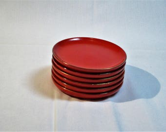 Vintage Japanese Red and Gold Lacquer ware Conditment/Coaster set of 6