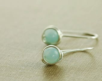 Wrapped Amazonite Drop Earrings, Simple Sky Blue Stone Earrings, Birthstone Earrings
