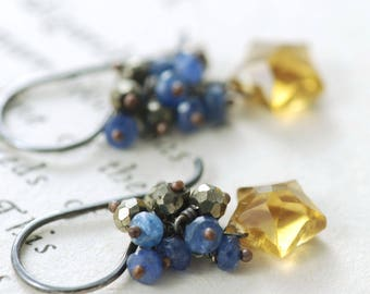 Starry Night Gemstone Earrings, Blue Sapphire Pyrite Cluster and Quartz Star Dangle Earrings, Stargazer Earrings