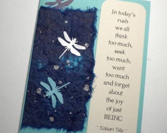 JUST BEING ~ Mixed media collage greeting card with bookmark, quote by Eckhart Tolle