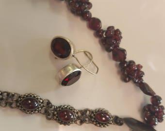 Vintage Handcrafted Garnet Bead Necklace, Bracelet and Garnet Cabachon Earrings