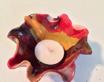 Warm Colors - Tye Dyed Tea Light Candleholder