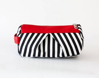 Black and white cotton with red leather makeup bag, accessory case toiletry storage pencil case bridesmaids gift - Estia Bag
