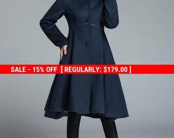 Dark blue coat, elegant coat, wool coat, hooded jacket, warm coat, asymmetrical coat, handmade coat, long sleeves coat, gift for her 1648