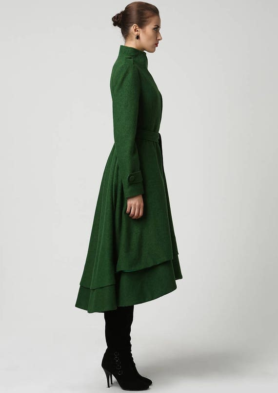 wool coat green coat long coat dark green jacket winter