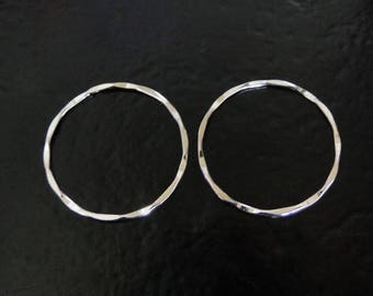 ONE Sterling Silver 26mm Hammered Round Links, Connector Rings, SC51