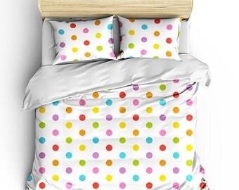 Rainbow Polka Dot Duvet Set, Bedroom Decor, Dorm Decor, Grad Gift, Teen Room Decor, Multi color dot duvet set, preppy room decor, bedding