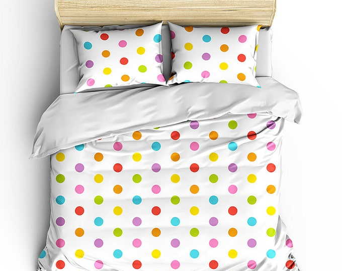 Rainbow Polka Dot Duvet Set, Bedroom Decor, Dorm Decor, Grad Gift, Teen Room Decor, Multi color dot duvet set, preppy room decor, bedding