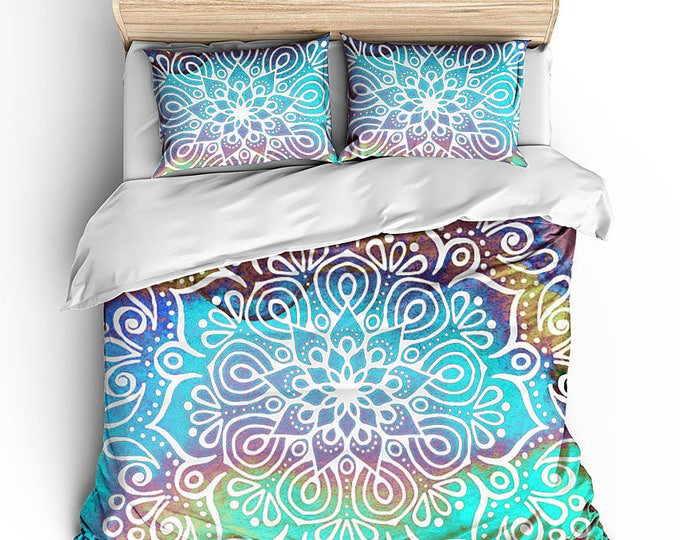 Aqua Mandala Duvet, Boho Chic Bed Set, Bohemian Room Decor, Mandala Decor, Hippie Chic bed set, Matching bed set, Dorm Decor, Grad Gift