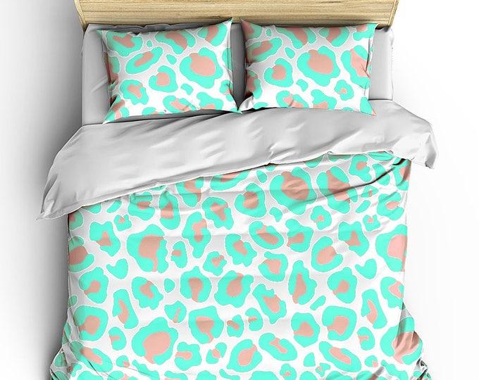 Bed Duvet, Bedding Cover, Mint Leopard Print, Matching bed set, teen room bedding, teen room decor, modern home decor, bedroom sets, cheetah