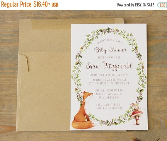 Woodland Baby Shower Invitation, Fox and Mouse Baby Shower Invitations, Gender Neutral Baby Shower Invitation, Floral Woodland Baby Shower