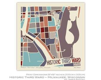 Historic Third Ward - Milwaukee, Wisconsin Neighborhood Art Map Print by James Steeno