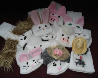 Set of 9 Sock Puppets Farmer Wife and Animals Interactive Play