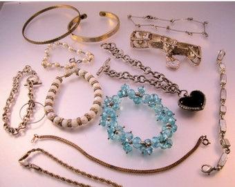 XMAS in JULY SALE Vintage Bracelet Lot of 12 Pieces All Types Lot of Bracelets Costume Jewelry Jewellery