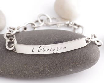 "Just Say It ""I LOVE YOU"" Silver ID Bracelet"