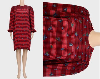 Vintage 80s Silk Stripe Houndstooth Dress | Paisley Sac Dress | Secretary Shift Dress | Puffy Sleeve Cocktail Party Dress | Brick Red | XS S