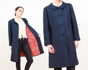 60s Navy Silk Jacket | Nautical Mod Jacket | Red Zebra Striped Jacket | Animal Print Coat | Collared Jacket | Dark Blue Duster Jacket | S M
