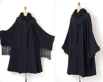 vintage 1920s coat / 20s black wool 20s fringed cape coat / black cocoon coat