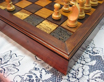 Cherry Wooden Chess Set  From Reclaimed 1800's Barn Beams